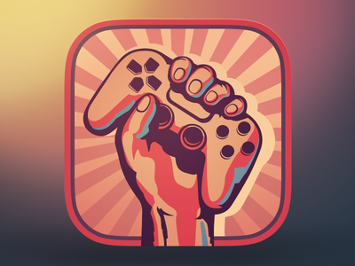 Mail.ru Games App Icon joystick hand games controller poster ios icon app iphone ipad gamepad mail.ru