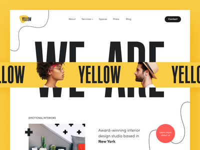 Yellow Interior Website yellow typography furniture home living decor studio agency cozy architecture home house interior product web ux ui startup service website interface