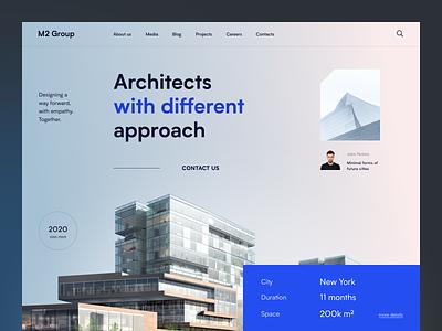 M2 Group Website real estate house home exterior coceptual building visual estate modern architecture design product web ux ui startup service website interface