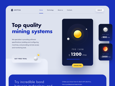 Krypton Website product web ux ui startup service website interface