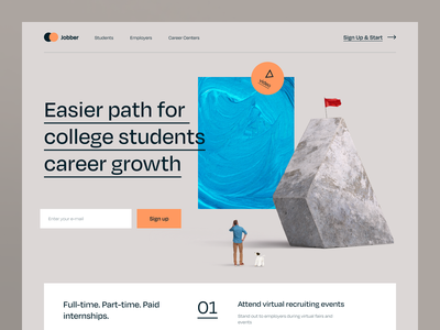 Jobber Website professional hiring business work goal college education student growth coach job career product web ux ui startup service website interface