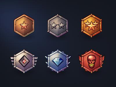 Badges for Online Game icon badge achievement reward illustration champion