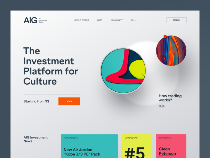 AIG Website interface product web ux ui startup service website