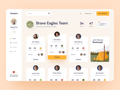 Scout School Dashboard 야애니 야애니 interface product web ux ui startup service website