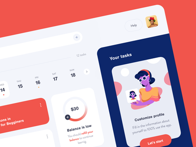 Ledge Learning Dashboard interface product web ux ui startup service website