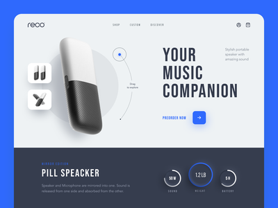 Pill Speaker Website product web ux ui startup service website interface
