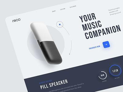 Pill Speaker Website product web ux ui startup service website interface