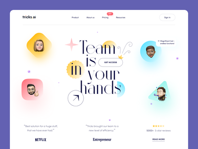 Tricks Website interface product web ux ui startup service website