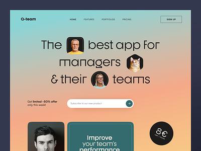 Q team Website product web ux ui startup service website interface