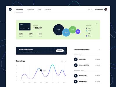 FinPulse Dashboard product web ux ui startup service website interface