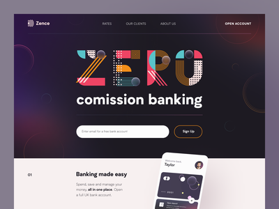 Zero Website service interface ux web ui startup website product