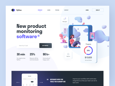 Fly Flow product service interface ux ui startup website