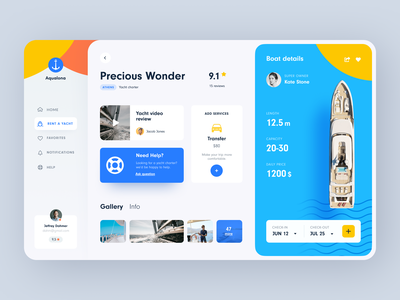 Yacht Booking Dasboard product design service interface ux ui startup website