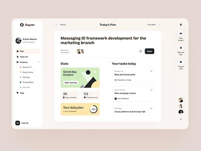 Dayzer Dashboard product design service interface ui ux startup website