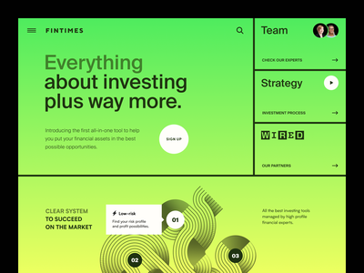 Fintimes Website product service interface ui ux startup website