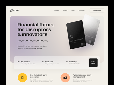 Coint Website product design service interface web ux ui startup website