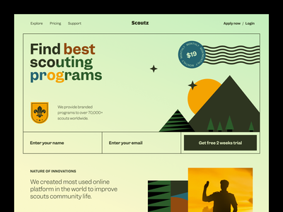 Scoutz Website product design service interface ux ui startup website