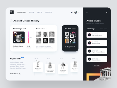 Historical Virtual Museum product design service interface web ui ux startup website