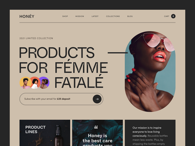 Honey Website product design service interface web ux ui startup website