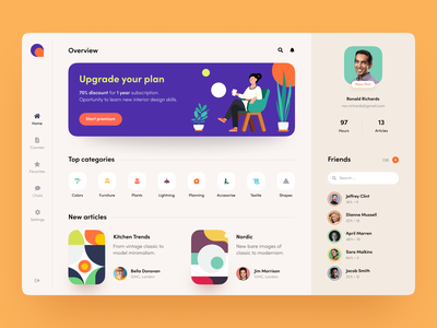 Interior Geek Society Dashboard product design service interface web ux ui startup website