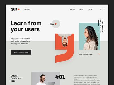 Que+ Website product design service interface web ux ui startup website