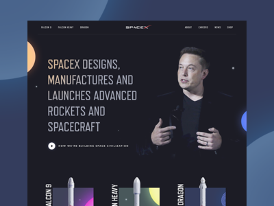 SpaceX Redesign Concept planet star website interface spacex space ui web