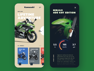 Kawasaki Concept color platform interface icon concept typography flat moto motorbike illustration type ux ui mobile design