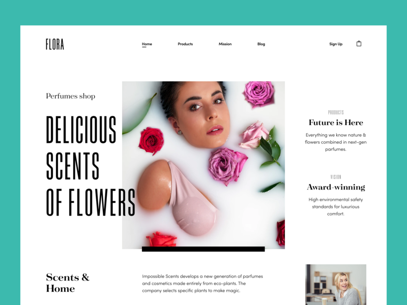 Flora Perfumes Shop Website halo flora aroma store colourful home scents plants perfume aroma green eco-friendly perfumes shop perfumes website e-commerce design website