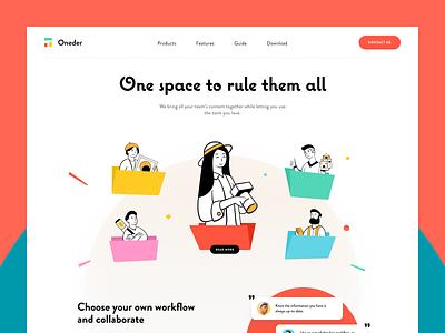 Oneder Collab Website illustration art masterpiece cooperation collaboration storage platform storage service startup business storage halo lab halo colourful design website