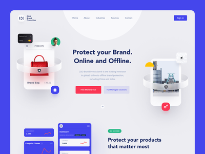 O2O Website copyright protection brand protection startup business halo lab halo colourful design website