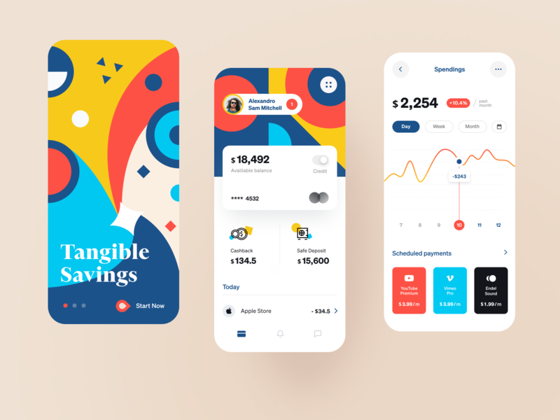 Tangible Bank App funds money matter savings cashback banking financial service money financial startup business halo lab halo colourful design app