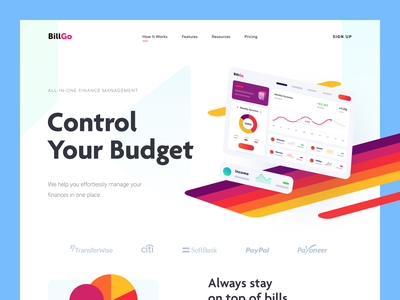 BillGo Website financial management financial service money financial enterprise entrepreneur startup business halo lab halo colourful design website