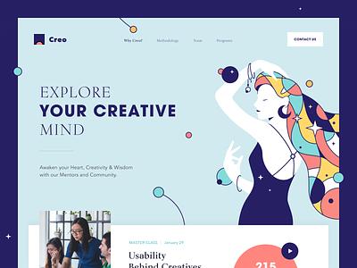 Creo Website coach mentorship creativity enterprise entrepreneur startup business halo lab halo colourful design website
