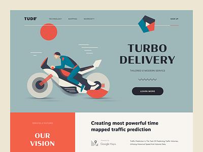 Tude Express Delivery Website art illustration delivery service delivery website express delivery enterprise entrepreneur startup business halo lab halo colourful design website