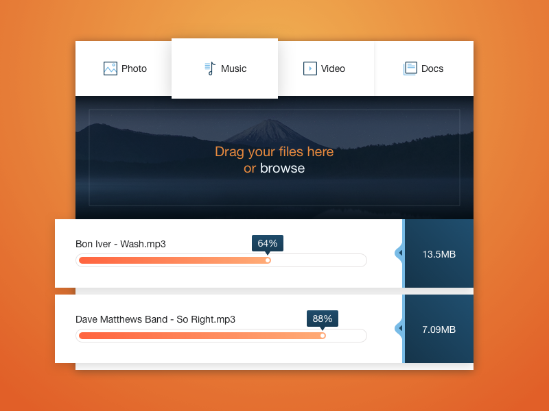 Upload Widget in Sketch download freebie progress orange modal widget sketch upload
