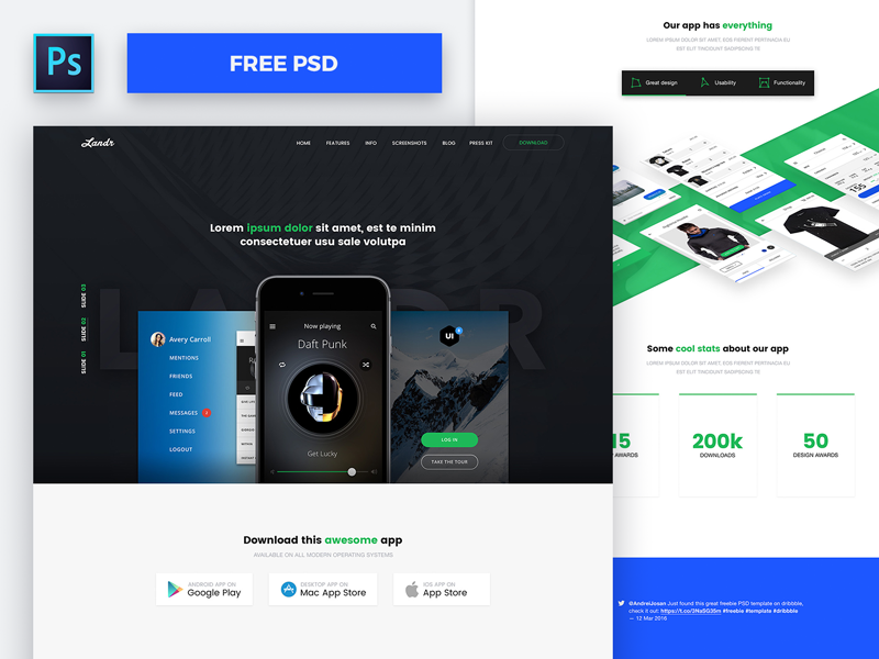 Landr free web mobile psd template by andrei josan for Facebook app template psd
