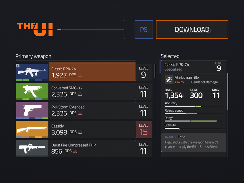 The Division UI Kit Freebie freebie gaming dark kit ui the division