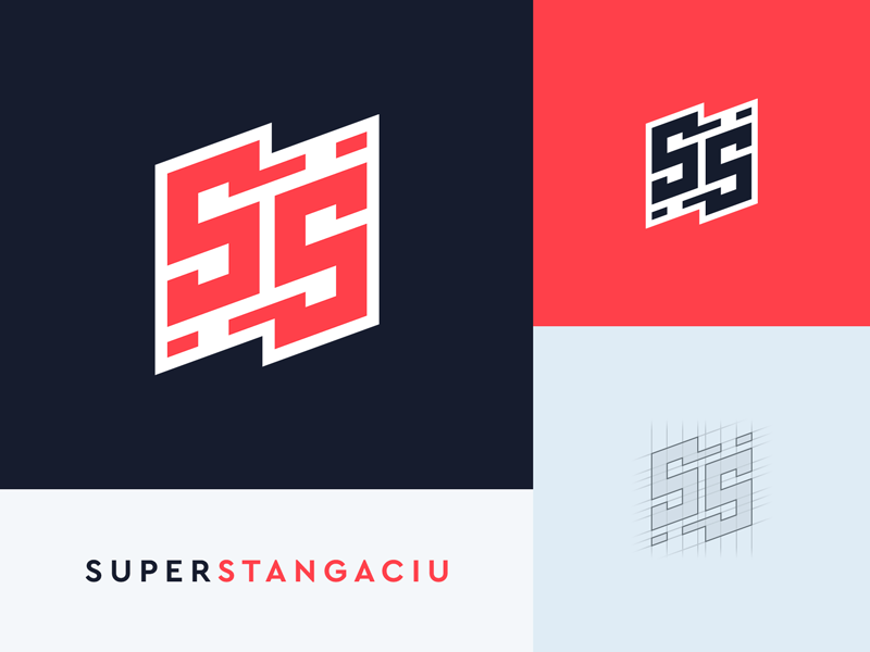 Double S Logo stroke outline dark red superstangaciu stangaciu superhero hero super ss s logo