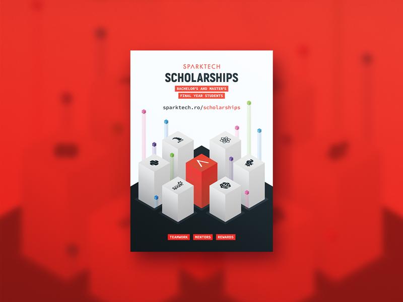 Sparktech Scholarships 2017 flyer development isometric poster scholarship sparktech