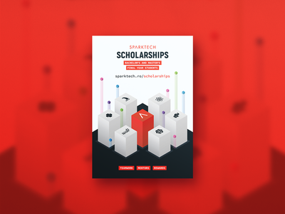 Sparktech Scholarships 2017 flyer development isometric poster scholarship sparktech