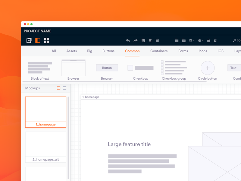 Lighter Balsamiq UI? wireframe orange light concept ui redesign balsamiq