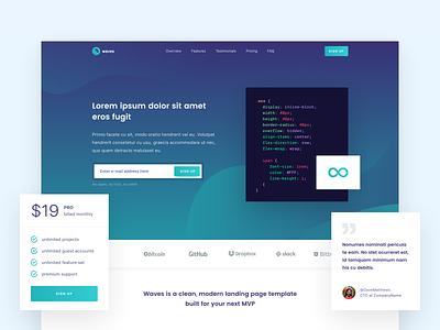 Waves Landing Page [WIP] clean light turquoise modern landing page design website green