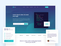 Waves Landing Page [WIP] clean light turquoise modern landing page design website green