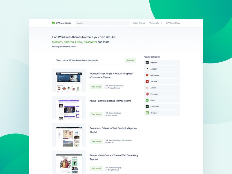 WPthemeslike.io Homepage clean design light green homepage design website wpthemeslikeio wp themes wp wordpress themes