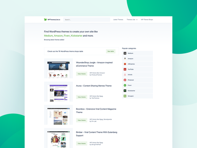 WPthemeslike.io Homepage clean design light green homepage design website wpthemeslikeio wp themes wp wordpress themes