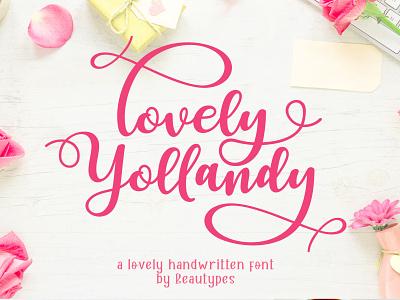 Lovely Yollandy - Handwritten Font typography branding beautiful cute lovely handletter script lettering font