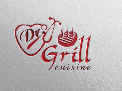Dr. Grill Cuisine restaurant logo grill restaurant grill logo grill illustrator design logo design branding minimal logos minimal logo design logo design logo creative logo design minimal branding
