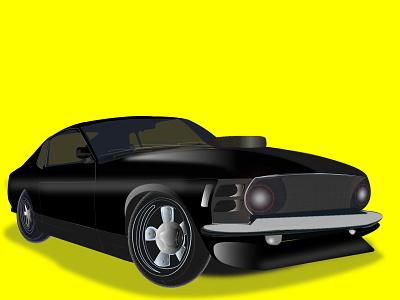 Car design ux ui logo design black blackletter yellow vector chirstmas illustration car car app