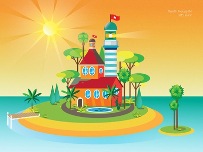 House of paradise everyday art exotic ishull inslen lighthouse island vector illustration vector art abstract art bardhart all the pretty colors illustration design branding design illustration art illustration vector