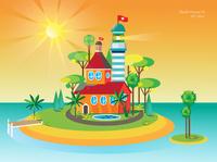 House of paradise everyday art exotic ishull inslen lighthouse island vector illustration vector art abstract art bardhart all the pretty colors illustration design branding design illustration art illustration vector
